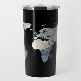 World Map Silhouette - Fisherman on The Ocean Travel Mug