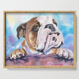 English Bulldog Watercolor | Pillow Cover | Dogs | Home Decor | Custom Dog Pillow | Dog Mom |Bulldog Serving Tray