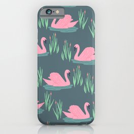 Pink Swans iPhone Case
