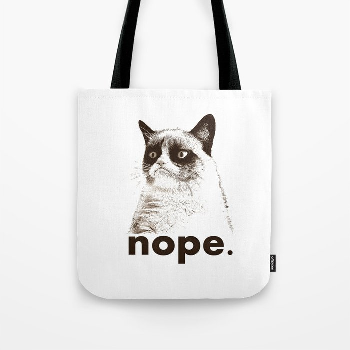 NOPE - Grumpy cat. Tote Bag
