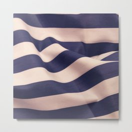 Striped Blue Cloth Metal Print