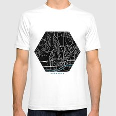 Sarajevo city map black colour SMALL White Mens Fitted Tee