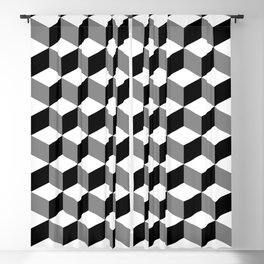 Cube Pattern Black White Grey Blackout Curtain