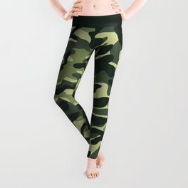 Green Military Camouflage Pattern Leggings