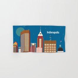 Indianapolis, Indiana - Skyline Illustration by Loose Petals Hand & Bath Towel