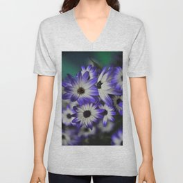 Blue & White Daisy Flowers #1 #floral #decor #art #society6 Unisex V-Neck