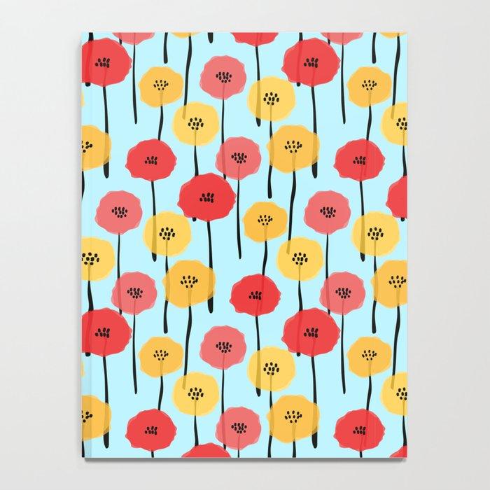 Bright Sunny Mod Poppy Flower Pattern Notebook