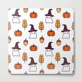 cute cartoon halloween pattern background with ghosts, pumpkins, leaves and acorns Metal Print