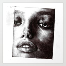 Close up Photorealism Beauty Sketch of Model Art Print