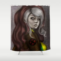 rogue Shower Curtains featuring Rogue v1 by Hallowette