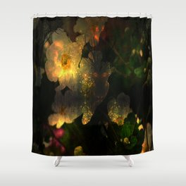 Frightening Glow in the Flowers Shower Curtain