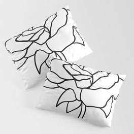 Rose, Line Drawing in Black and White Pillow Sham