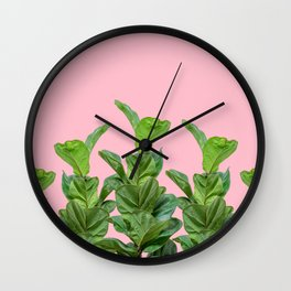 Rubber trees in group with pink Wall Clock
