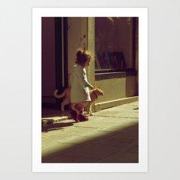 Venetian Girl and Cat Art Print