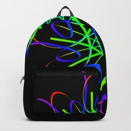 Guilloche red and galactic signs. Four neon objects for a certificate or a voucher. Backpack