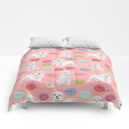Maltese donuts dog breed funny pet lover dog person pattern print by pet friendly Comforters