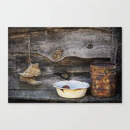 Old Boots and Washtub Canvas Print