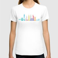new york skyline T-shirts featuring New York Skyline White by Christopher Dina