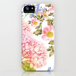 Hydrangea, forget me not, roses watercolor pattern iPhone Case