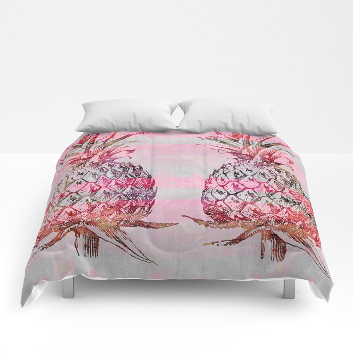 pink pineapple graphic mixed media art Comforters