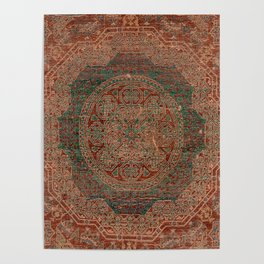 Bohemian Medallion I // 15th Century Old Distressed Red Green Colorful Ornate Accent Rug Pattern Poster