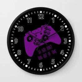 Video Game Purple on Black Wall Clock