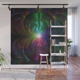Anodized Rainbow Eyes and Metallic Fractal Flares Wall Mural