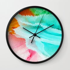 pink orange green and blue Wall Clock