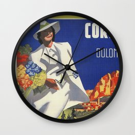 Vintage Italian Alps Cortina summer travel Wall Clock