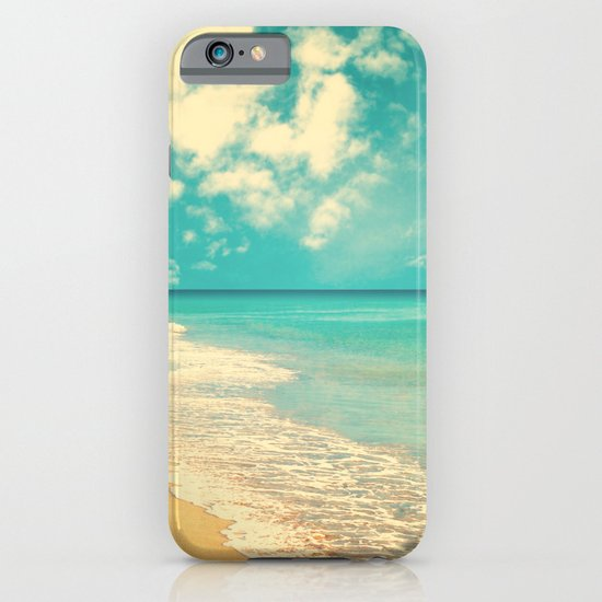 Waves of the sea (retro beach and blue sky) iPhone & iPod Case