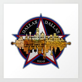 A Souvenir Of Dallas Texas Art Print