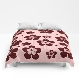 Pink with brown flowers Comforters