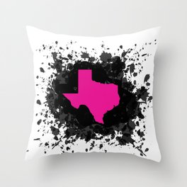 Hot Pink State of Texas with Black Ink Splatter Throw Pillow