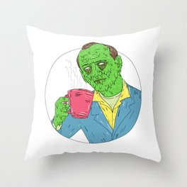 Asian Dude Drinking Coffee Grime Art Throw Pillow