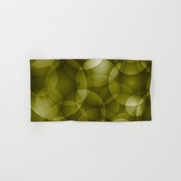 Dark intersecting translucent olive circles in bright colors with an oily glow. Hand & Bath Towel