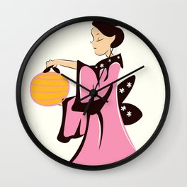Geisha girl Japan vintage poster Wall Clock