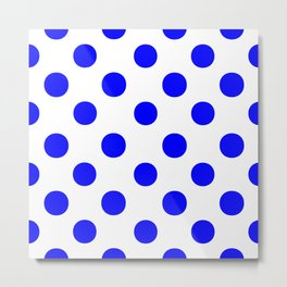 Polka Dots (Blue/White) Metal Print