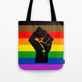 LGBT Pride Flag More Colors Raised Fist (More Pride) Tote Bag