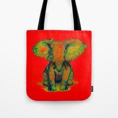 Elephant with Tiny Bird Tote Bag