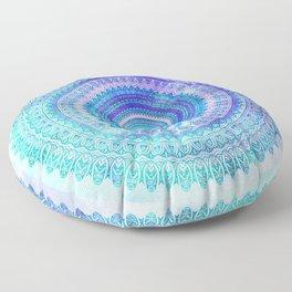 Blue Turquoise And Purple Watercolor Mandala Art Floor Pillow