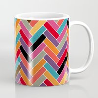 herringbone Mugs featuring herringbone by Sharon Turner