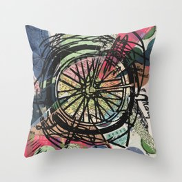 Where To Next? No. 3 Abstract Bike Wheel Linocut Block on Collage Travel Art Throw Pillow
