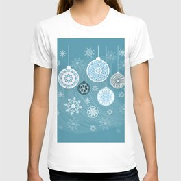 christmas balls with snowflakes on the blue T-shirt
