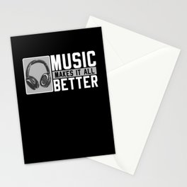 Music Musician Gifts Music Headphones Stationery Cards
