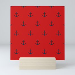 Navy Sailor Anchor Pattern Blue And Red Mini Art Print