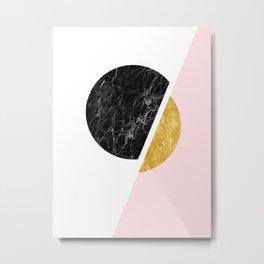 Black And Gold Modern Scandinavian Minimalist Art Metal Print