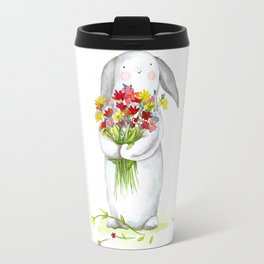 Flower Bunny (nursery art, art for children) Travel Mug