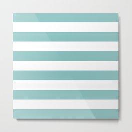 Chalky Blue Horizontal Stripes Metal Print