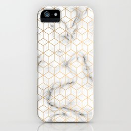 Gold Geometric Pattern on Marble Texture iPhone Case