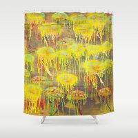 polka dot Shower Curtains featuring Polka Dot Jellyfish by mark jones